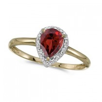 Pear Shape Garnet and Diamond Cocktail Ring 14k Yellow Gold