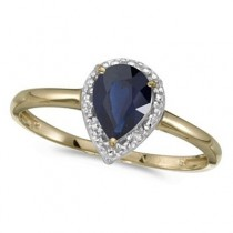 Pear Shape Blue Sapphire and Diamond Cocktail Ring 14k Yellow Gold