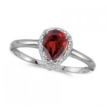 Pear Shape Garnet and Diamond Cocktail Ring 14k White Gold