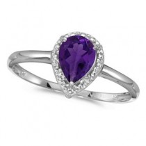 Pear Shape Amethyst and Diamond Cocktail Ring 14k White Gold