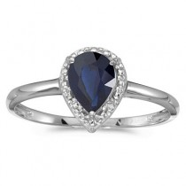 Pear Shape Blue Sapphire and Diamond Cocktail Ring 14k White Gold