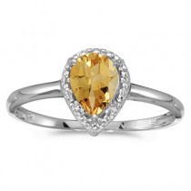 Pear Shape Citrine and Diamond Cocktail Ring 14k White Gold