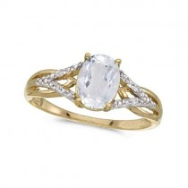 Oval White Topaz and Diamond Cocktail Ring 14K Yellow Gold (1.62tcw)