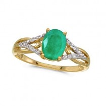 Oval Emerald and Diamond Cocktail Ring 14K Yellow Gold (1.12tcw)