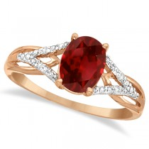 Oval Garnet and Diamond Cocktail Ring in 14K Rose Gold (1.42 ctw)
