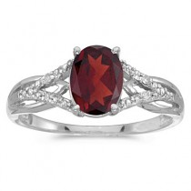 Oval Garnet and Diamond Cocktail Ring in 14K White Gold (1.42 ctw)