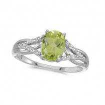 Oval Peridot and Diamond Cocktail Ring in 14K White Gold (1.37 ctw)
