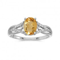 Oval Citrine and Diamond Cocktail Ring 14K White Gold (1.20tcw)