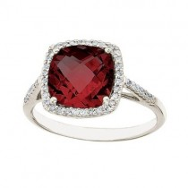 Cushion -Cut Garnet & Diamond Cocktail Ring 14k White Gold (3.70cttw)