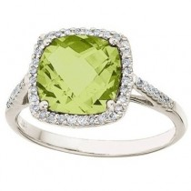 Cushion-Cut Peridot & Diamond Cocktail Ring 14k White Gold (3.70cttw)