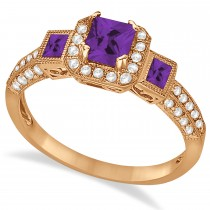 Amethyst & Diamond Engagement Ring in 14k Rose Gold (1.35ctw)