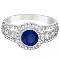 Vintage Blue Sapphire & Diamond Ring 14k White Gold (1.50ct)