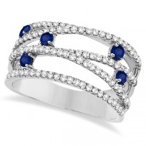 Blue Sapphire & Diamond Bypass Wide Ring 14k White Gold (0.90ctw)