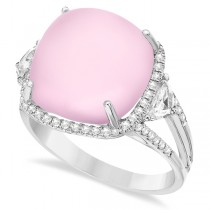 Cushion Rose Quartz & Diamond Cocktail Ring 14k White Gold (11.64ct)