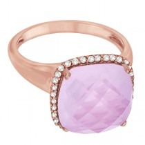 Cushion Rose Quartz & Diamond Cocktail Ring 14k Pink Gold (6.18ct)