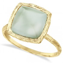 Brushed Cushion Green Amethyst Cocktail Ring 14k Yellow Gold (4.00ct)