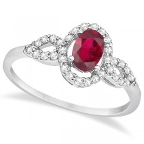 Oval Halo Ruby & Diamond Engagement Ring 14K White Gold (1.16ct)