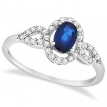 Oval Halo Sapphire & Diamond Engagement Ring 14K White Gold (1.16ct)