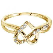 Diamond Knot Heart Shaped Right Hand Ring 14k Yellow Gold (0.10ct)