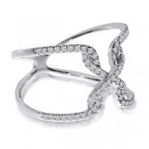 Diamond X Abstract Fashion Ring in 14k White Gold (0.26ct)