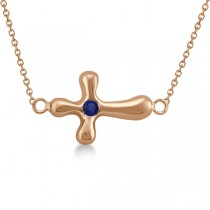 Rounded Sideways Blue Sapphire Cross Pendant 14k Rose Gold (0.08ct)