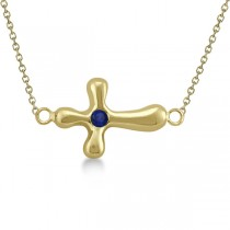 Rounded Sideways Blue Sapphire Cross Pendant 14k Yellow Gold (0.08ct)