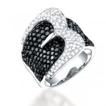 3.05ct 14k White Gold Black and White Diamond Belt Ring