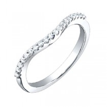0.25ct 14k White Gold Diamond Lady's Curved Band
