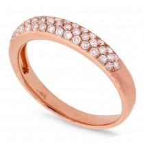 0.38ct 14k Rose Gold Diamond Lady's Pave Band Size 6.5