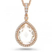 0.17ct Diamond & 5.70ct White Topaz 14k Rose Gold Pendant Necklace