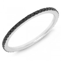 0.28ct 14k White Gold with Black Rhodium Black Diamond Eternity Band Size 4