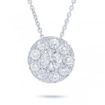 0.82ct 14k White Gold Round Brilliant Diamond Pendant Necklace