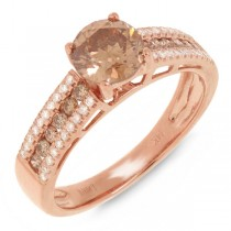 1.05ct Round Brilliant Center and 0.35ct Side 14k Rose Gold Champagne Diamond Engagement Ring