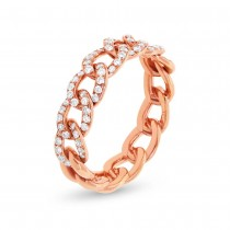 0.41ct 14k Rose Gold Diamond Chain Ring Size 6.5