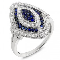 0.59ct Diamond & 0.41ct Blue Sapphire 14k White Gold Ring