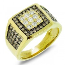 1.54ct 14k Yellow Gold White & Champagne Diamond Men's Ring