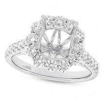 1.08ct 18k White Gold Diamond Semi-mount Ring for 3.00ct Center Size 6.5