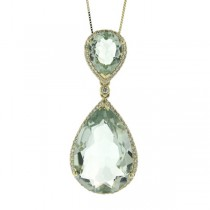 0.35ct Diamond & 13.64ct Green Amethyst 14k Yellow Gold Pendant Necklace