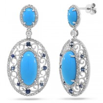 0.96ct Diamond & 7.23ct Composite Turquoise & 0.48ct Blue Sapphire 14k White Gold Earrings