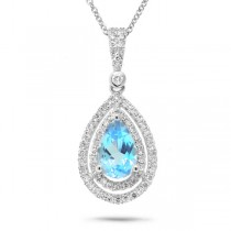 0.38ct Diamond and 1.56ct Blue Topaz 14k White Gold Pendant Necklace