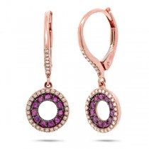 0.21ct Diamond & 0.37ct Ruby 14k Rose Gold Earrings