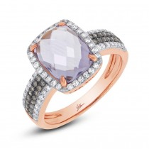 0.45ct White & Champagne Diamond & 3.21ct Amethyst Rose Gold Ring