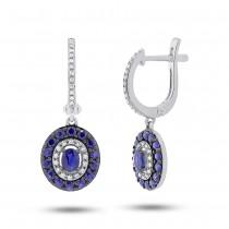 0.21ct Diamond & 1.20ct Blue Sapphire 14k White Gold Earrings