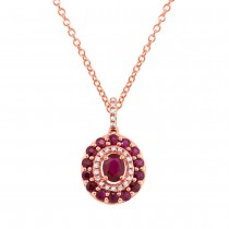0.09ct Diamond & 1.03ct Ruby 14k Rose Gold Pendant Necklace