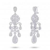 7.06ct 18k White Gold Diamond Chandelier Earrings