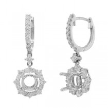 0.71ct 18k White Gold Diamond Semi-mount Earrings