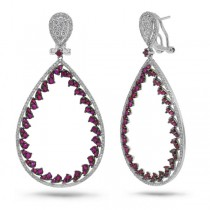 1.46ct Diamond & 3.40ct Ruby 14k White Gold Earrings