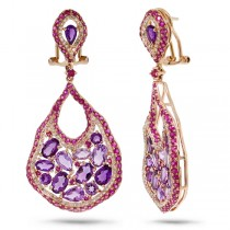 0.80ct Diamond & 6.84ct Amethyst & Pink Sapphire 14k Rose Gold Earrings
