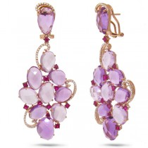 0.49ct Diamond & 38.48ct Amethyst & Pink Sapphire 14k Rose Gold Earrings