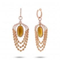 1.09ct Diamond & 12.71ct Citrine & Yellow Sapphire 14k Rose Gold Earrings